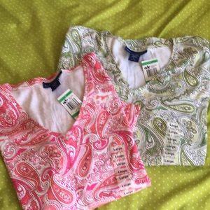 Set of two L Macy's paisley T-shirts ❤️💖❤️💖❤️